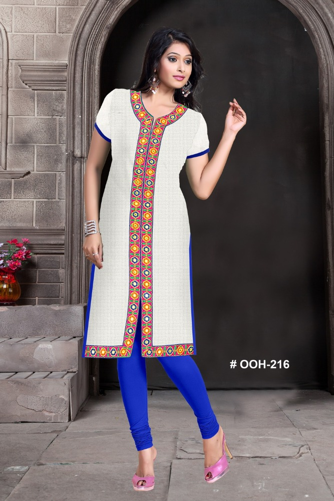 White wholesale embroidery neck designs for kurits