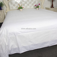 WEISDIN new products fashion design polyester cotton white plain dyed 1cm stripe hotel cotton bed sheet
