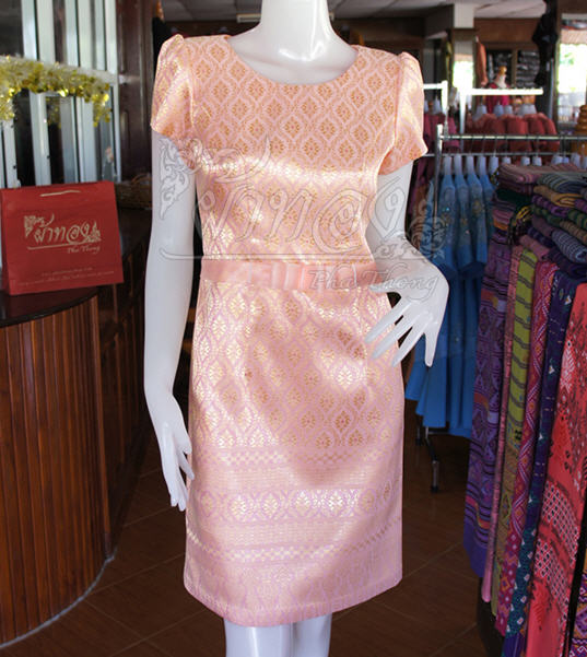 Light Pink and Golden Silk dress with Thai painting