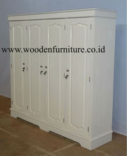 White Wardrobe Four Doors Classic Wooden Furniture Antique Reproduction Bed Room European Style Home Furniture