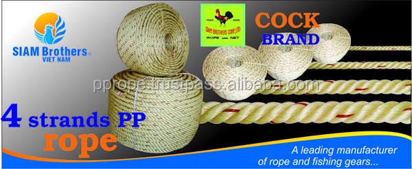 4 strands color pp rope for ship mooring diameter 4.0mm to 60mm