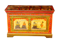 INDIA HERITAGE WOODEN STORAGE BOX, WOODEN PAINTED STORAGE BOX