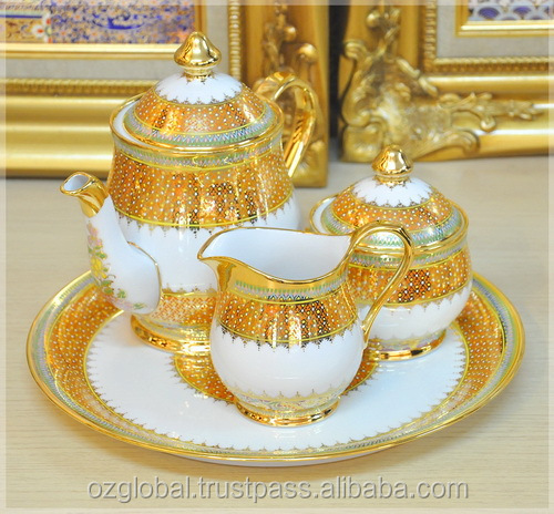 Royal Thai Benjarong Handcrafted Coffee Set with Gold Plated