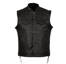 Sleeve Less Classic Bike Jacket, Top Quality Leather Motorcycle Vest type Jacket, Biker New Style Chopper vest