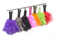 Ostrich Feather and Leather Key Ring Duster
