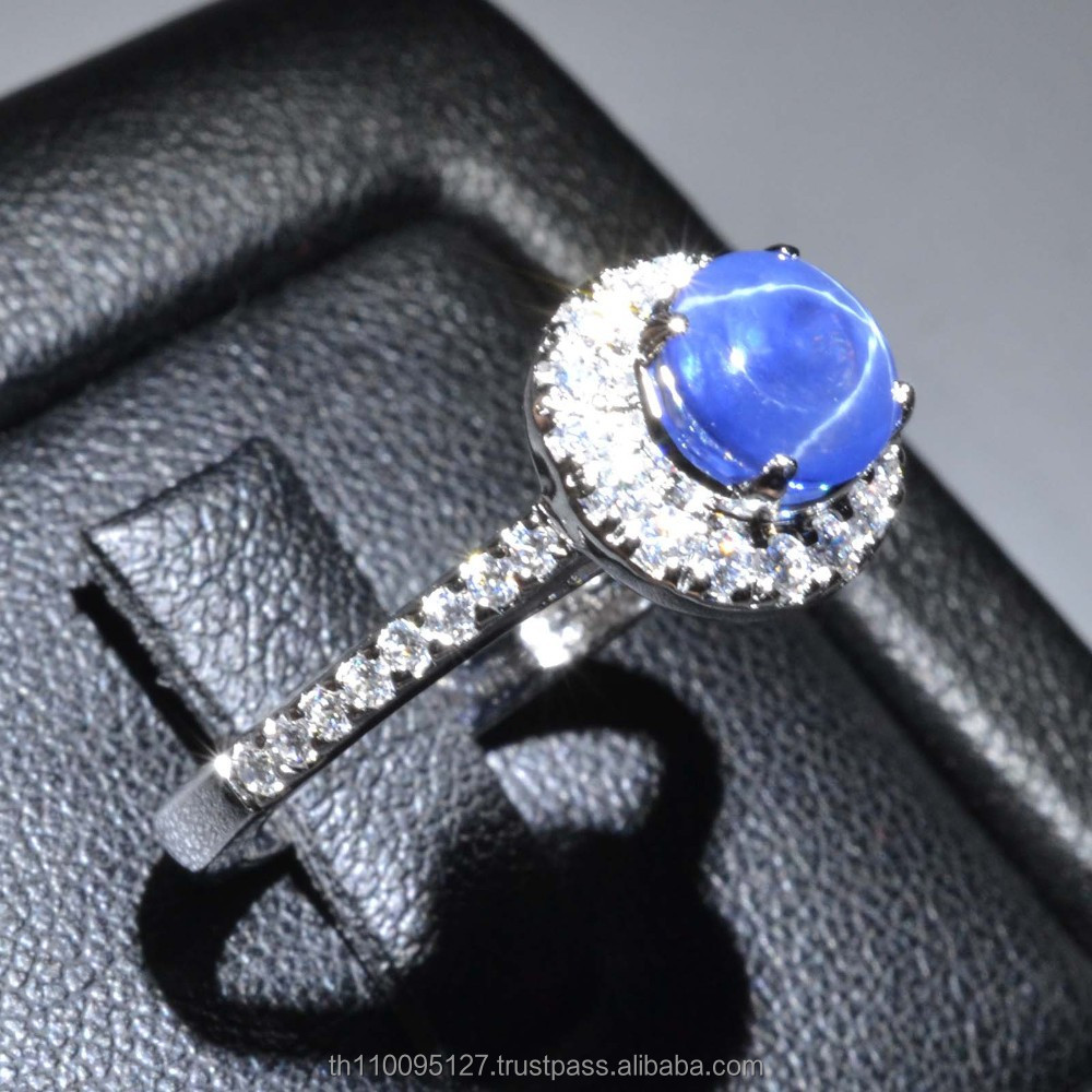 6.5x6.5 MM Blue Star Sapphire Ring Lab-Created Sterling Silver 92.5 Size 6.75