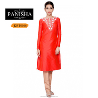 Coral raw silk tunic with keyhole and off white embroidery