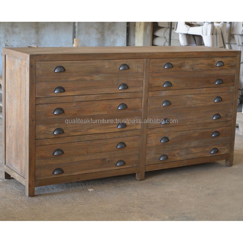 Chest of drawers distressed style with solid reclaimed teak wood brass handle
