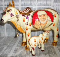 Resin Painting Hindu Deities on Kamdhenu Cow