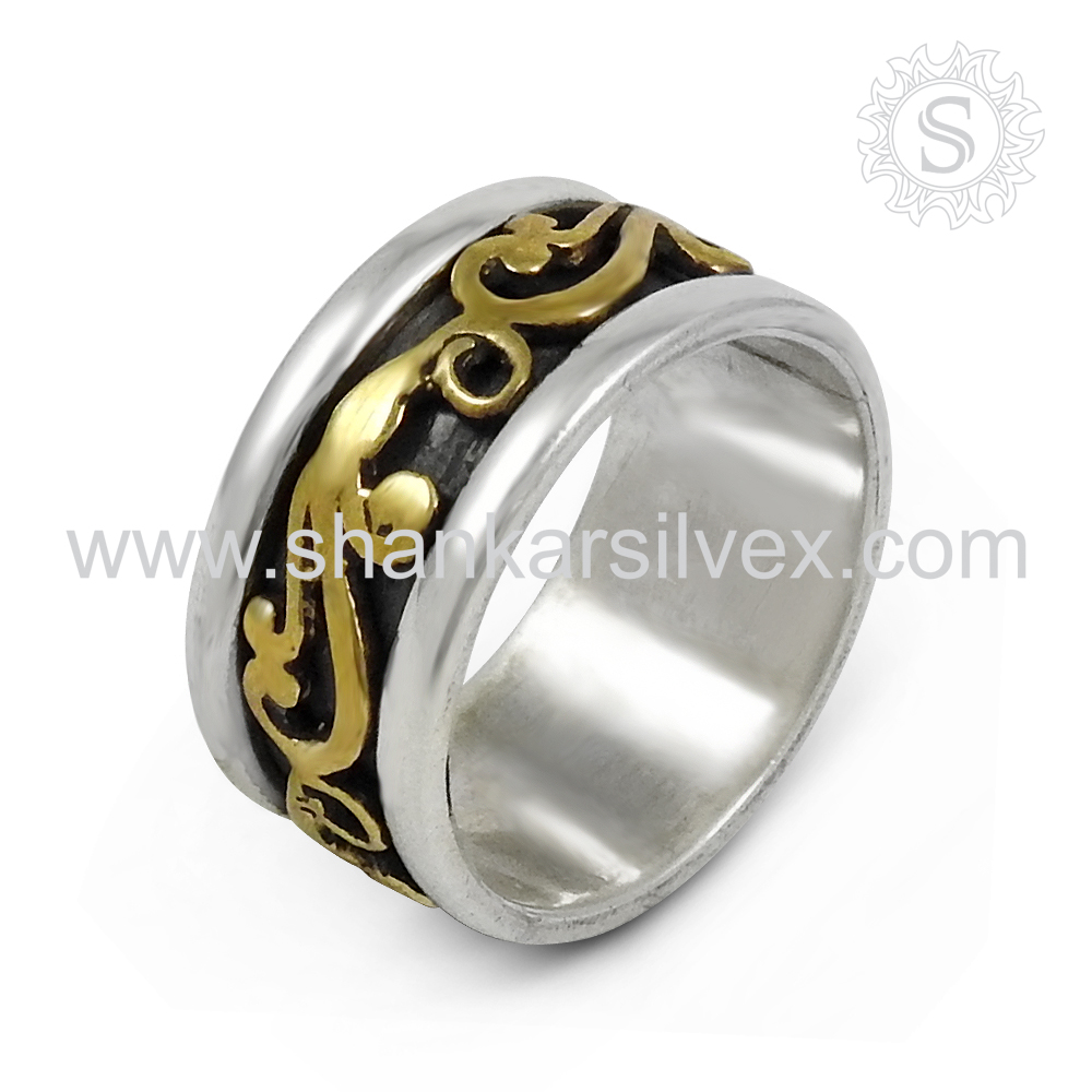High polish gold plated plain silver spinner ring 925 sterling silver spinner ring handmade silver jewelry exporters