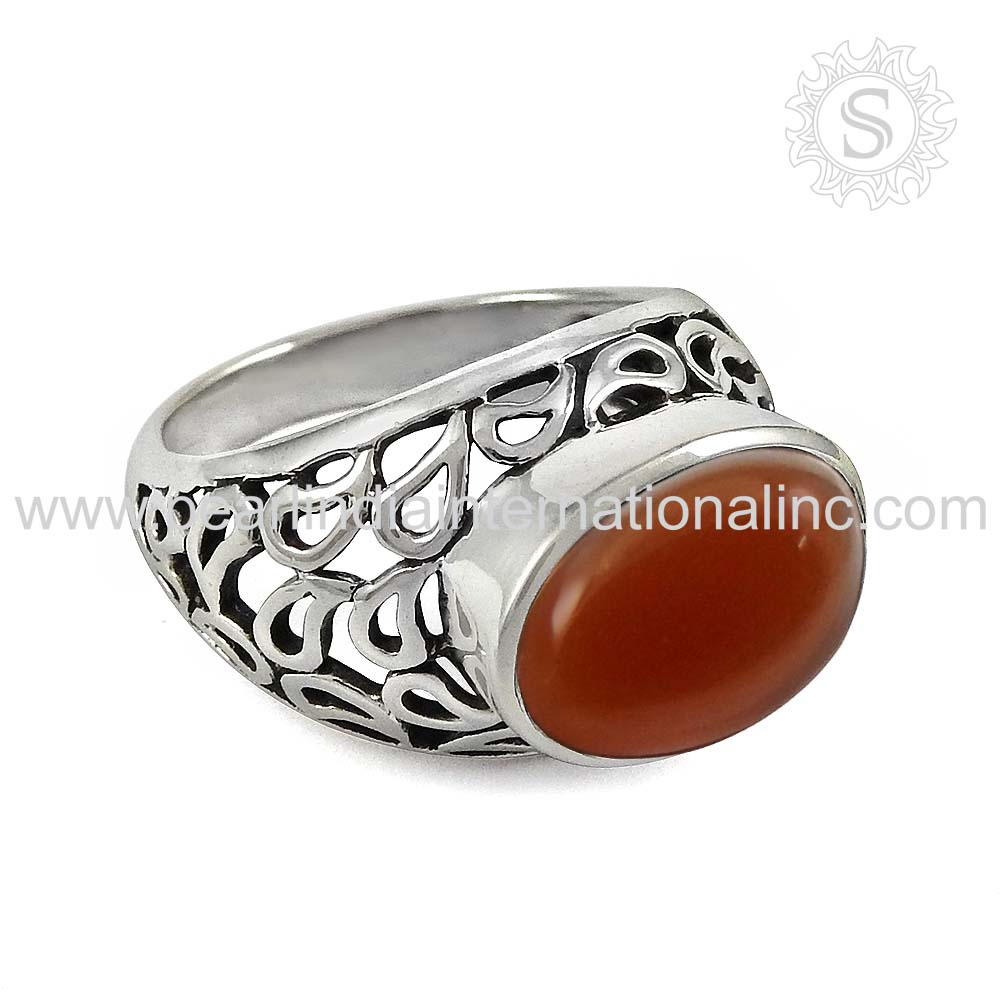 Delightful Red Fashion Carnelian Gemstone Engagement Ring 925 Hallmark Silver Jewelry Online