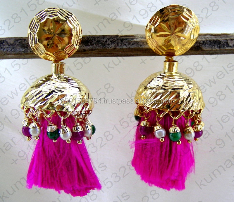 Traditional Typical Punjabi Style Pearl Ruby Green Color Stone Beaded Drops Silk Thread Handmade Earrings