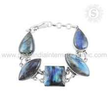 illumined blue labradorite gemstone silver bracelet 925 sterling silver jewelry indian silver jewelry exporters
