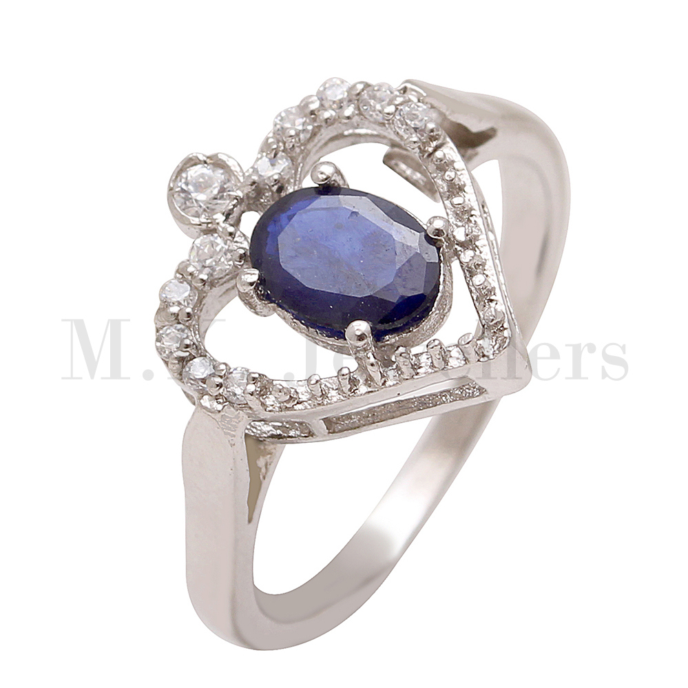 Stylish 925 sterling silver Blue sapphire and American Diamond silver ring
