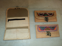 indian leather purses embroidery work atm card holders