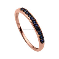 High Standard 14k Gold Jewelry Set Wholesale Min Order Fashion Gold Ring Earring Women Gift Deep Blue Sapphire
