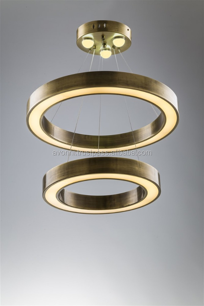 AVONNI LED Metal Gold Ring Chandelier