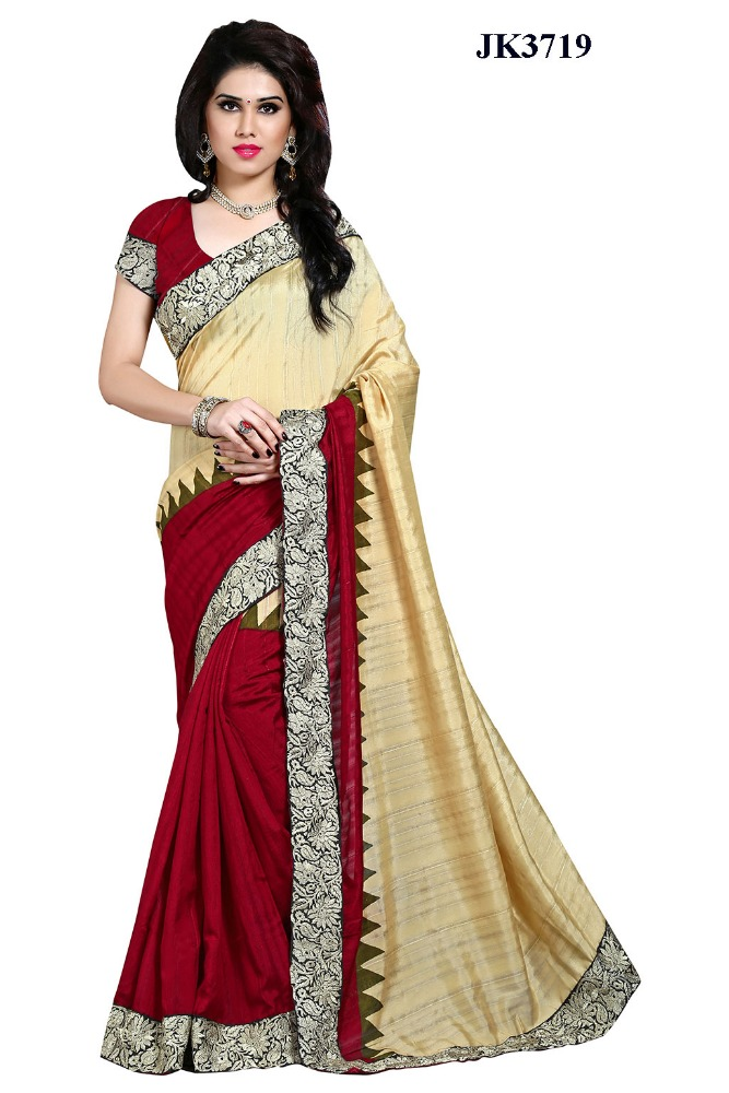 Entrancing Off White And Maroon Color Dhupion Silk Patch Border Work Exclusive Saree