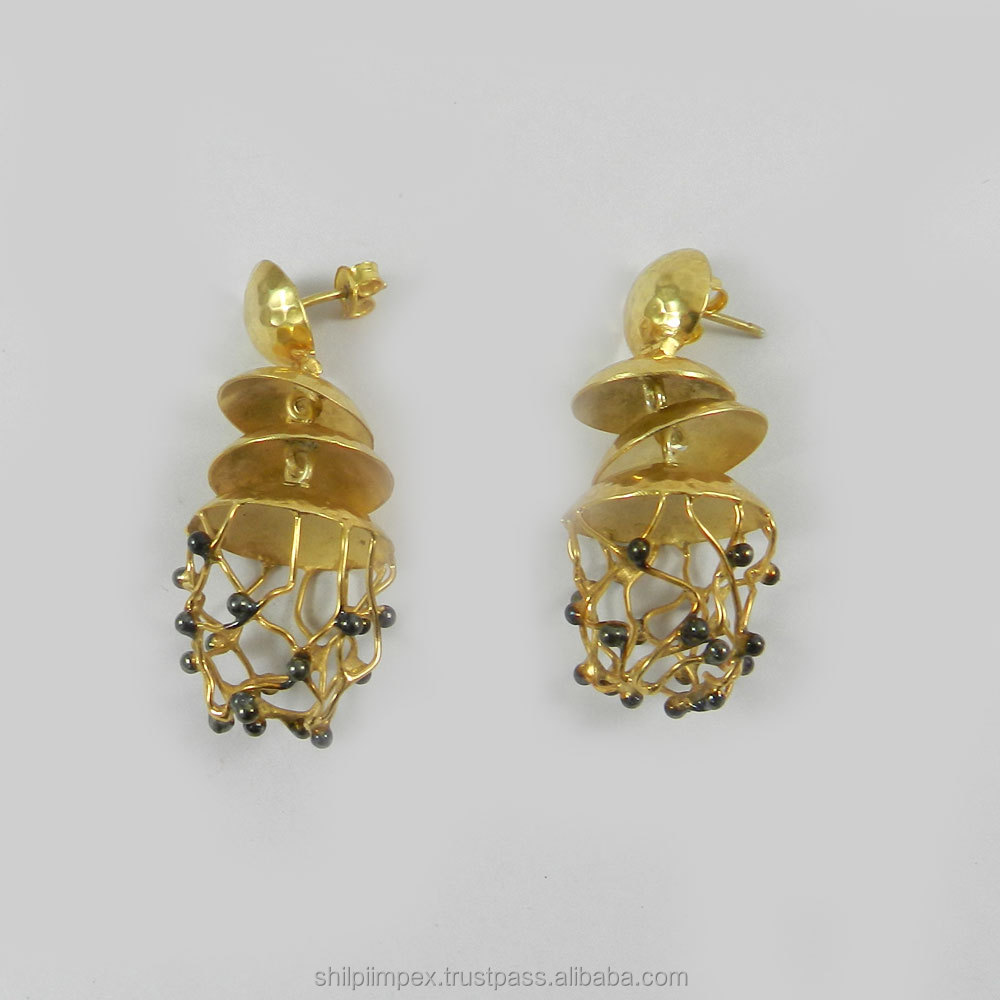Felix Earring - Designer Jhumka earring - 18k gold plated - Beautiful fashion jewelry - SIER0061
