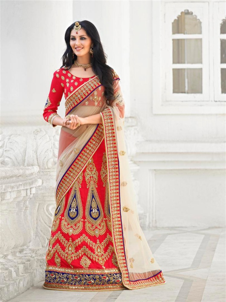 Net Fabric Party wear Lehenga Saree in Chiku & red colour