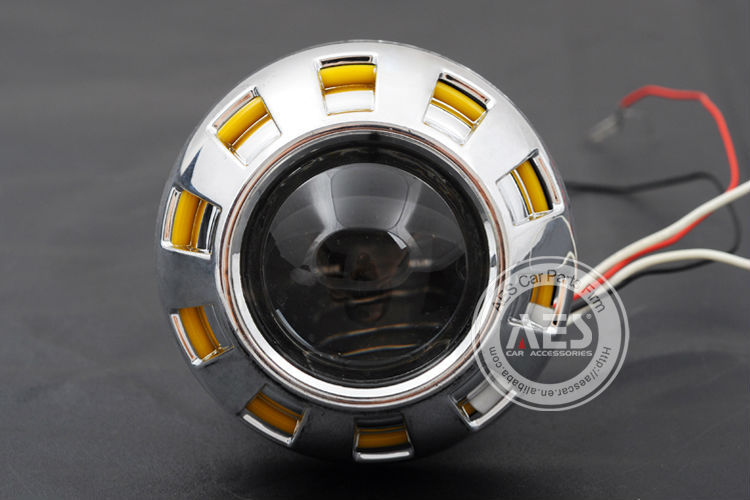 Factory aes bi-xenon projector Lens for motorcycle hid bi-xenon projector with angel eyes