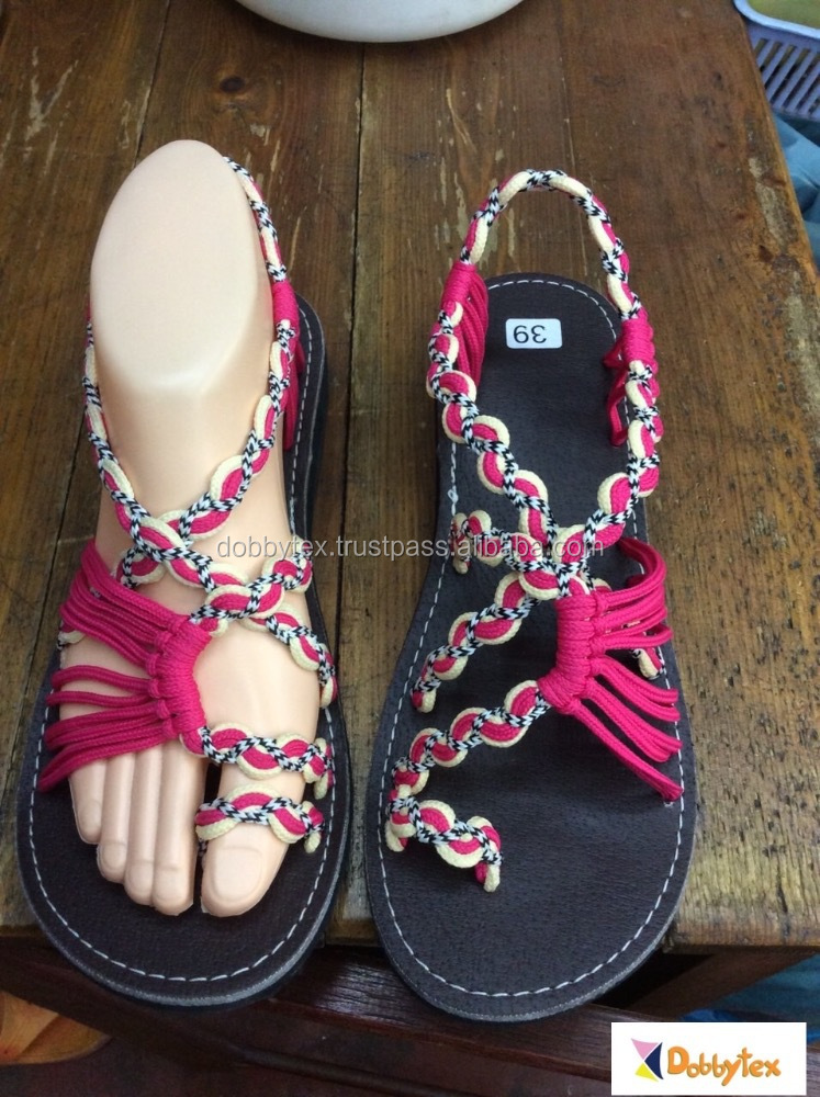 Dobbytex DBTS9 Pink White Twist Handmade rope Sandals/Shoes Hill tribe / Hmong / Summer / African