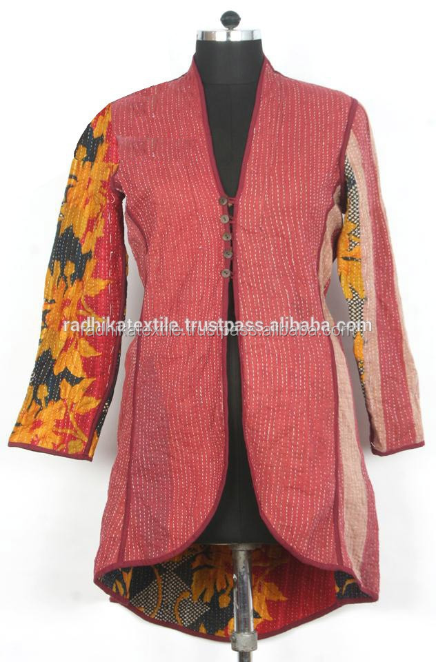 RTHCJ-23 Handmade Vintage Kantha Jackets Antique Coat Reversible jacket Jaipur manufacturer