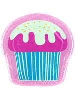 8 pk 8 x 8 in. yummy cupcake shaped plates