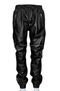 Mens Black American Style Soft Leather Trousers Sweat Track Pant Jogging Bottom