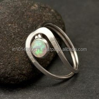 925 Sterling Silver White Fire AAA Opal Ring design for men silver ring with opal stone