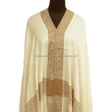 White Embroidered Shawl Elegant Cashmere Crewel Stole Wool Blend Pashmina Wrap SHW688