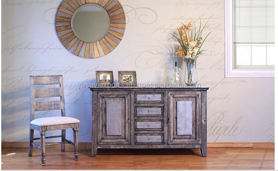 Solid Zinc Finish Wooden Sideboard Buffet