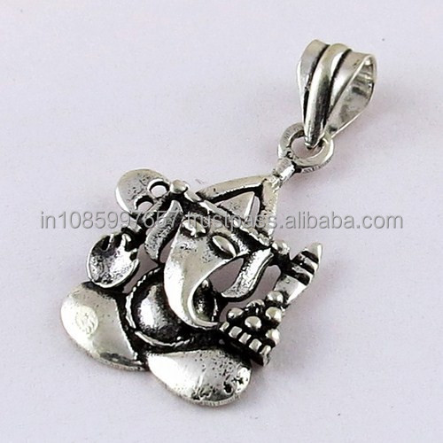 Well looking Plain Silver Oxidized Lord Ganesh Silver Pendant, 925 Silver Jewellery, Sterling Silver Jewellery