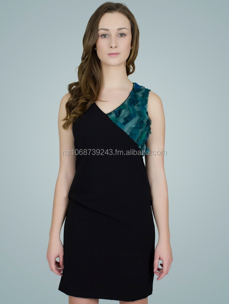 SILK CREPE BLENDED CRISS-CROSS LYCRA DRESS