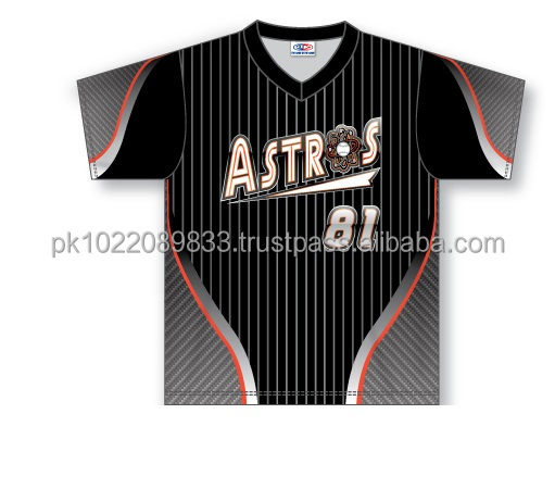 Custom Sublimated Half Sleeves V-Neck Astros Baseball Jersey/T-Shirt made of Moisture Wicking Cool Polyester fabric