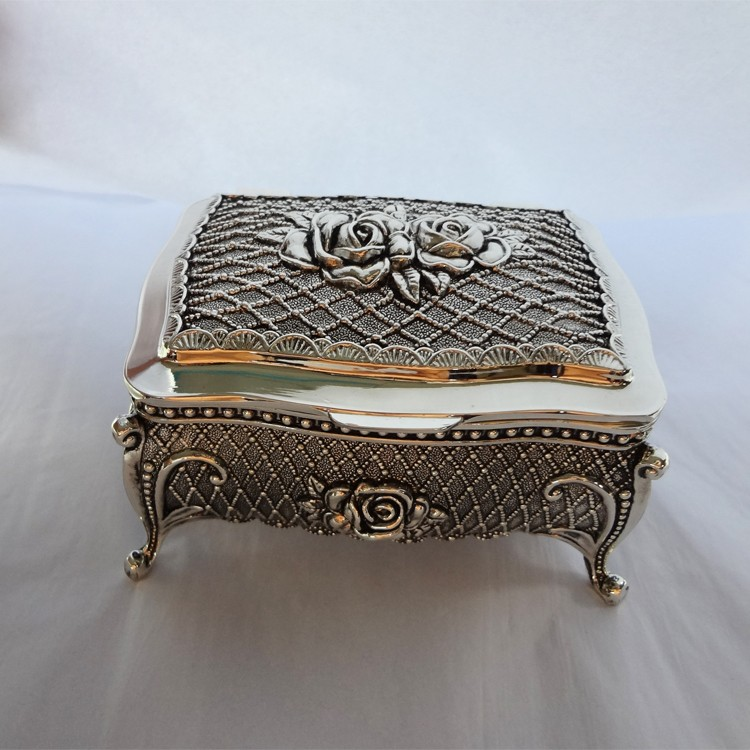 Metal Jewelry Box w/four Legs in Antique Finished