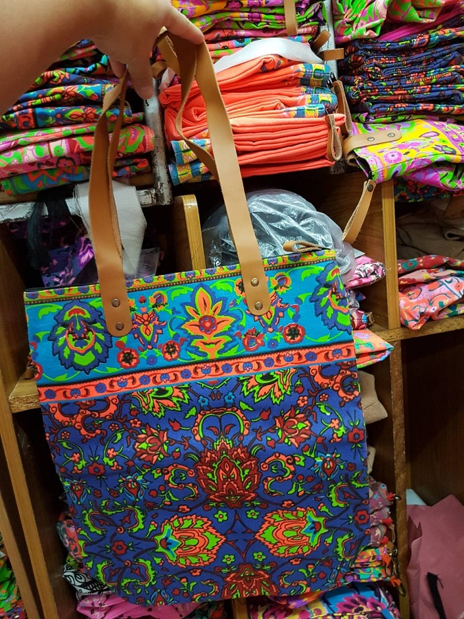 cotton printed canvas tote bags