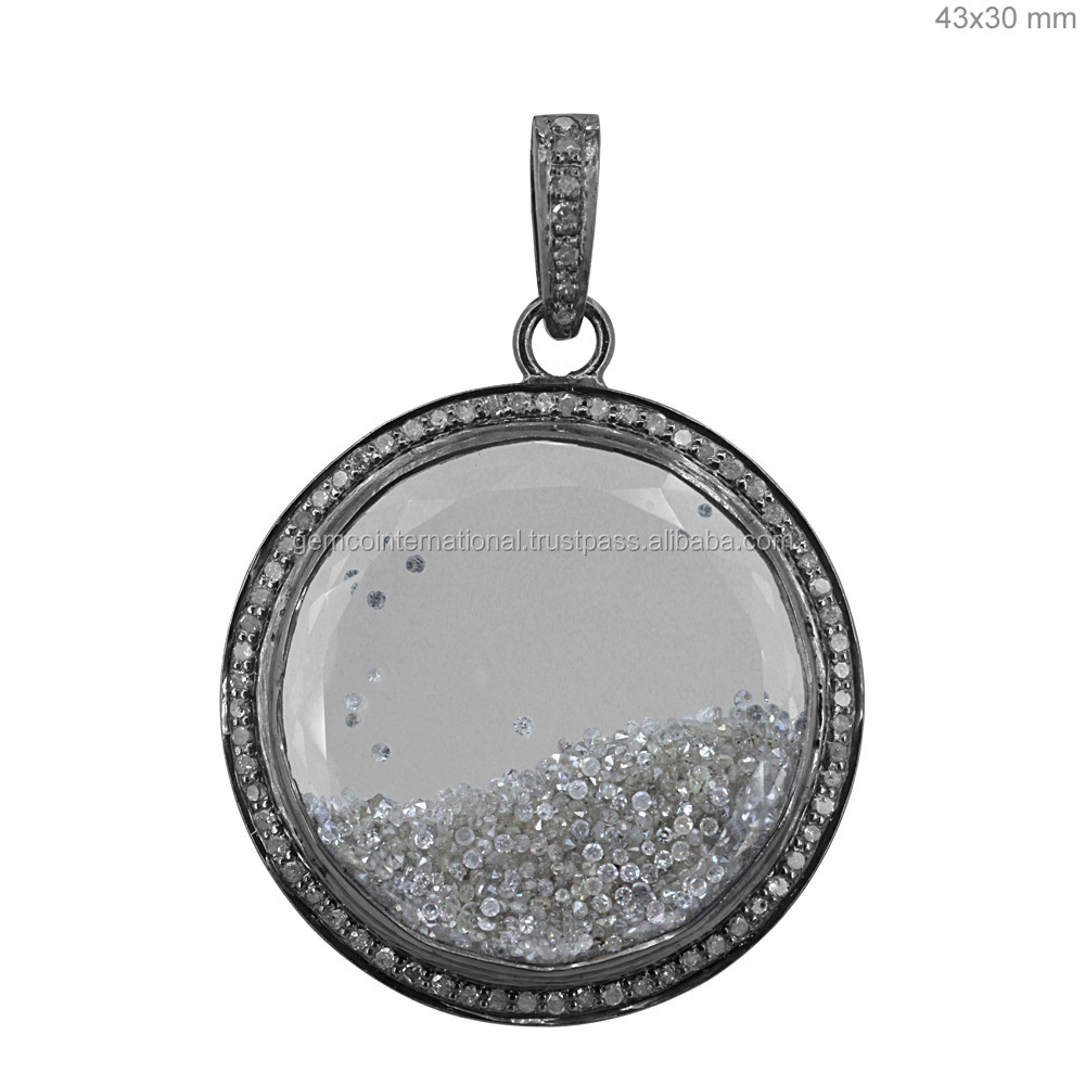 Diamond Shaker Pendant 952 Silver Crystal Jewelry