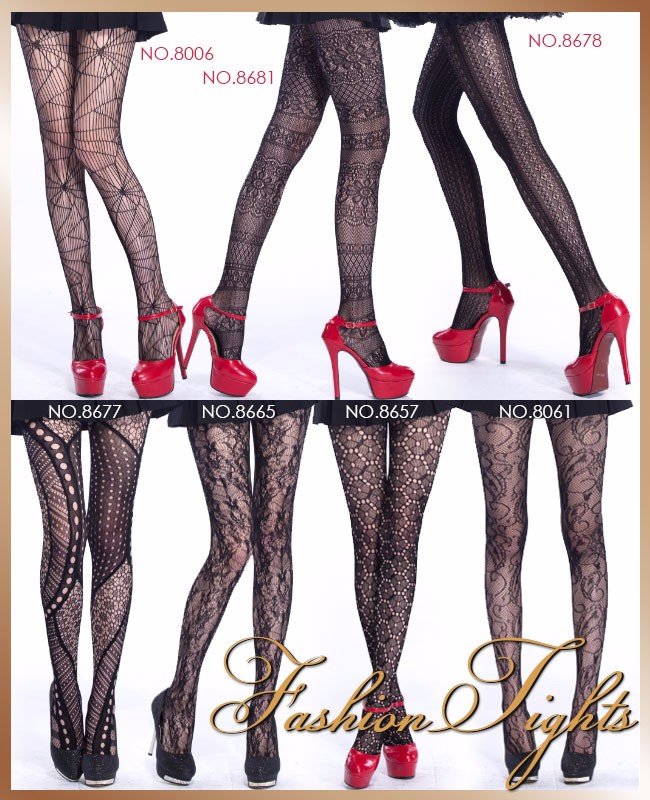 Double Helici Form Pattern Black Women Tattoo Tights