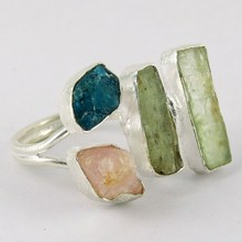 Great Things !! Prehnite_Rose Quartz_Apatite 925 Sterling Silver Ring, All Over World Shipping, Winter Silver Jewelry