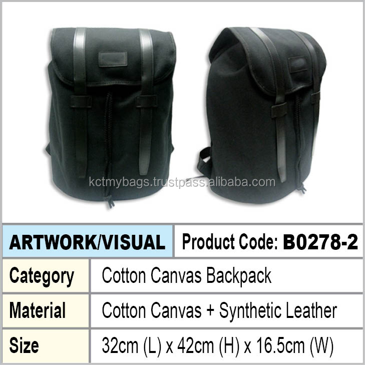 black cotton canvas day backpack