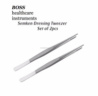 SEMKEN DRESSING TWEEZERS DENTAL INSTRUMENTS FORCEPS SET OF 2