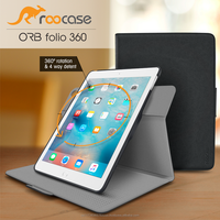 Top Quality roocase ORB 360 Rotating Folio Leather Cover Sleep/Wake Feature for iPad Air 2/Air 1 case Whole Sale (Black)
