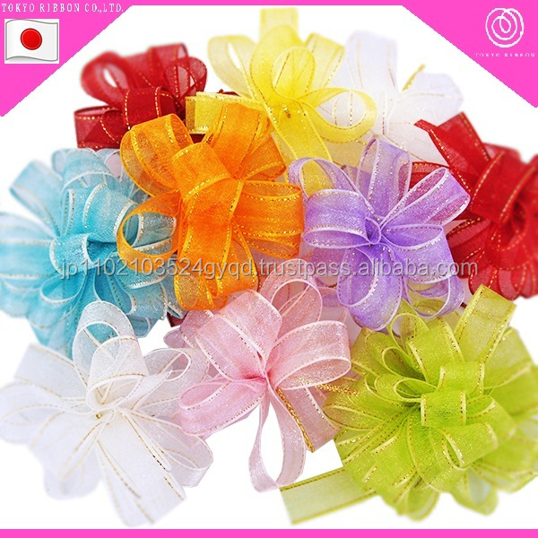 Fashionable organdy one-touch ribbon bow for packing decorative gifts made in Japan
