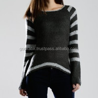 100% best quality made favorite women choice beautiful white and black color mix new design base long sleeve women sweater.