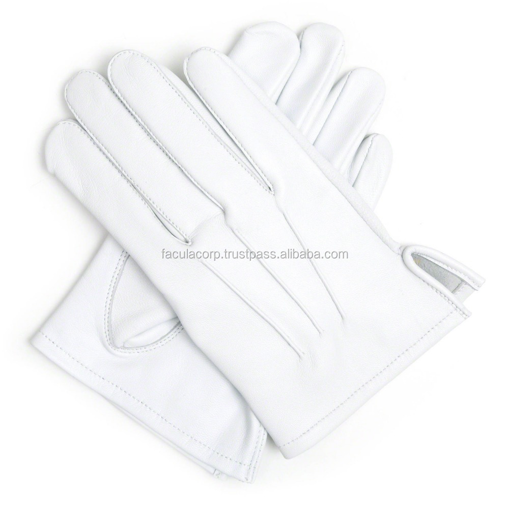 100% Leather White Wedding Brand Marching Navy Gloves