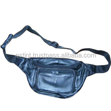 Men Genuine Leather black Cell Phone Hip Belt Fanny Pack Waist Purse Pouch Bag