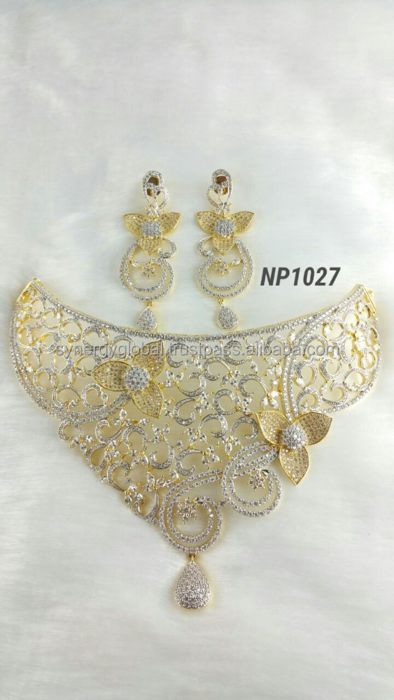 Large choker style wedding american diamond necklace set for women