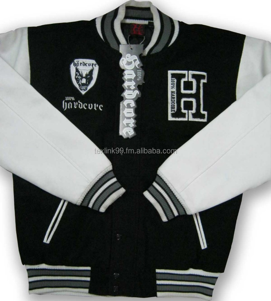 Varsity Jacket/customized Harrington style/PU leather sleeves/ knitted rib at cuff & border
