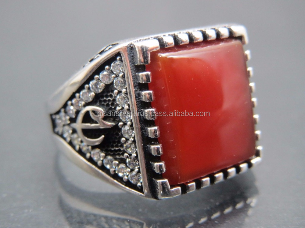 925 Sterling Silver Turkish Ottoman Agate Man Ring Jewelry